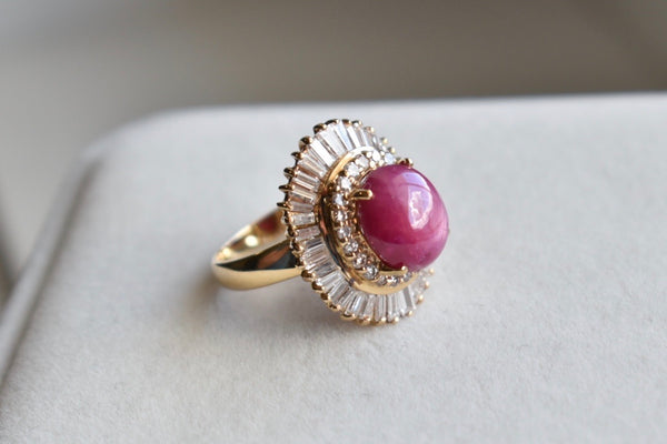 Natural Oval Star Ruby Cabochon Ring with Double Diamond Halo in 14K Yellow Gold