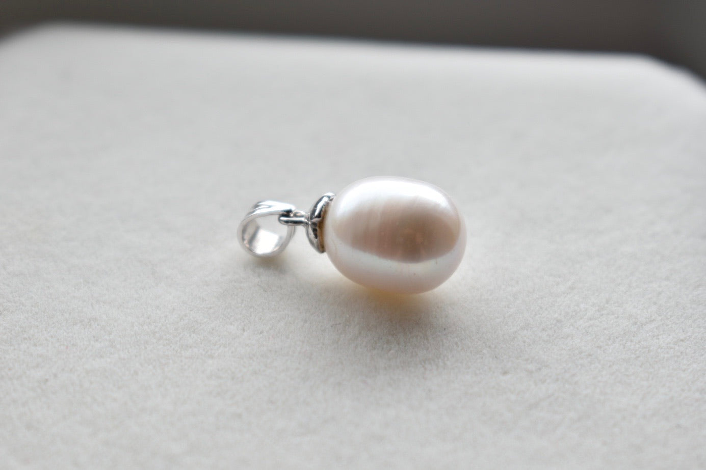 White Freshwater Oval Pearl Pendant in 10K White Gold