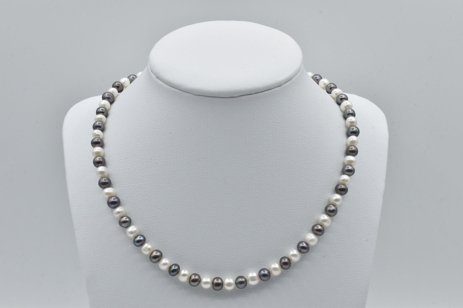 White And Black Freshwater Multicolor Oval Pearl Necklace, 16.5 inches, 6-7mm