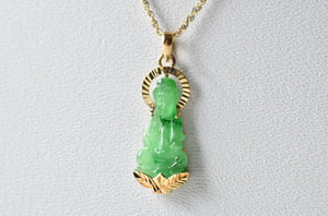Natural Jadeite Jade Apple Green Lady Buddha Pendant in 14K Yellow Gold