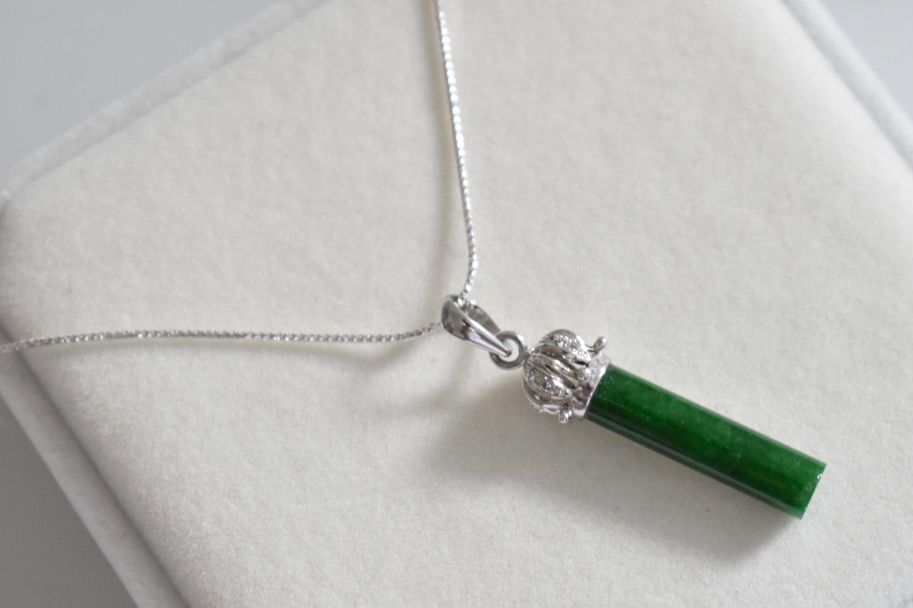 Natural Imperial Green Jadeite Jade Stick and Moissanite Crown Pendant in 9K White Gold