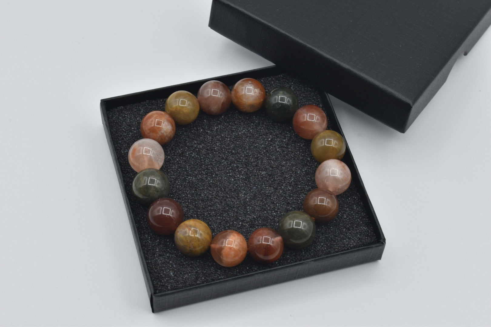 Natural Indian Agate Bead Bracelet (14mm)