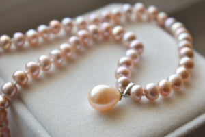 Pink Freshwater Button Pearl Necklace with Drop Pendant in 10K White Gold