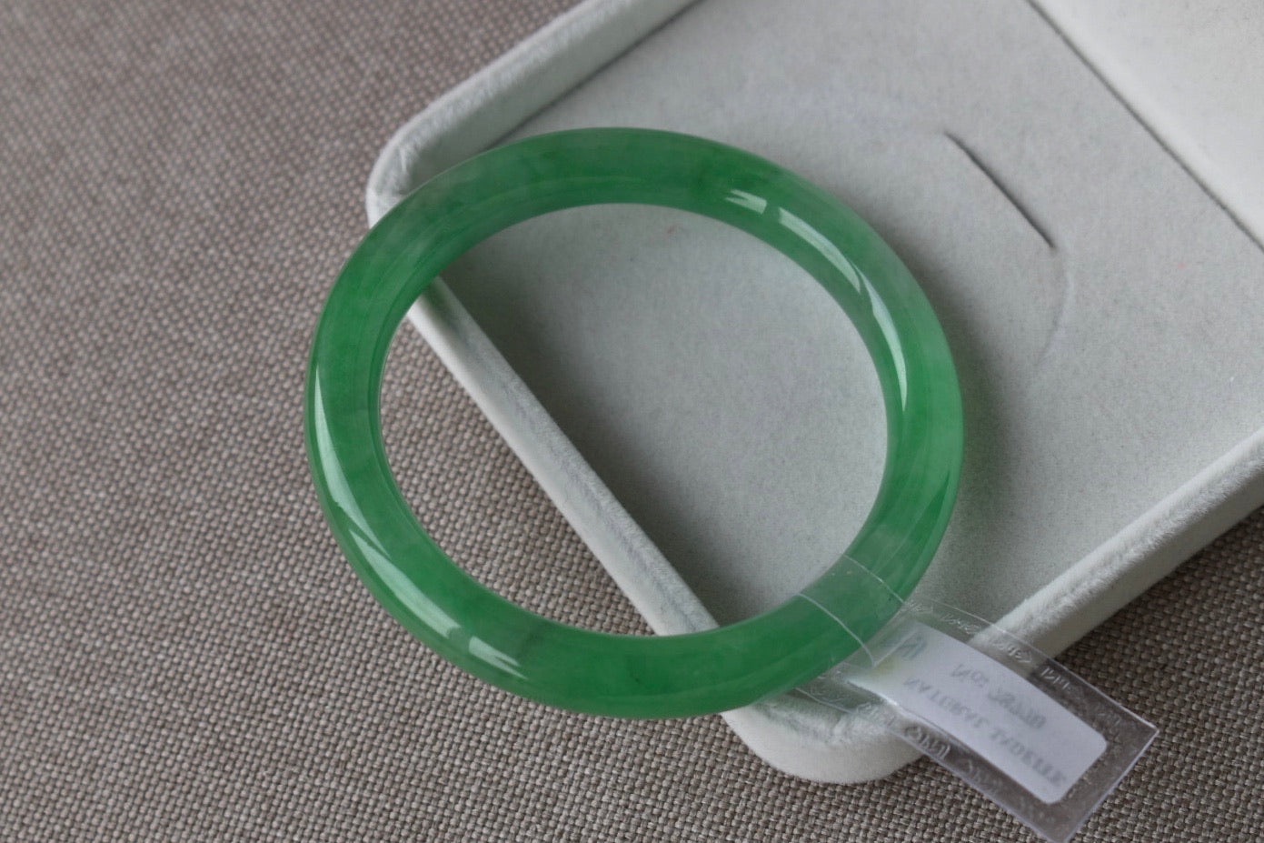 55.07mm Natural Translucent Vivid Green Jadeite Jade Round Bangle