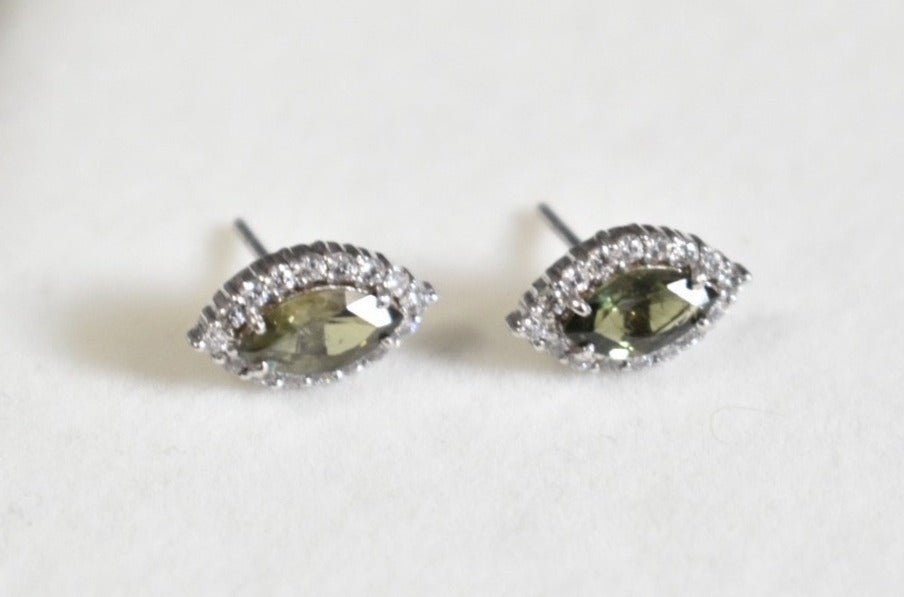 Natural Green Marquise Tourmaline and Moissanite Cluster Earrings in 10K White Gold