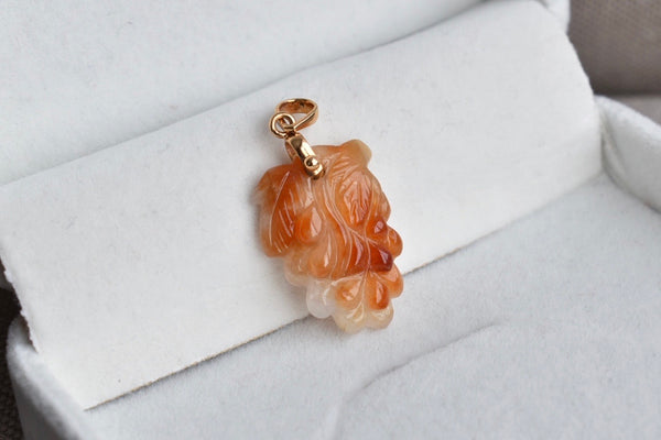Natural Translucent White + Russet Red Jadeite Jade Grapes Pendant in 14K Yellow Gold