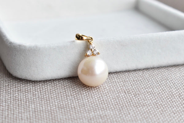 Cream Freshwater Pearl and Diamond Trio Pendant in 14K Yellow Gold, 12mm