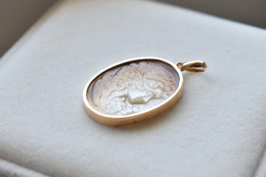 Mother Of Pearl Victorian Lady Cameo Pendant in 18K Yellow Gold