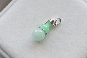 Natural Translucent Moss In Snow Jadeite Jade Bottle Pendant in 10K White Gold
