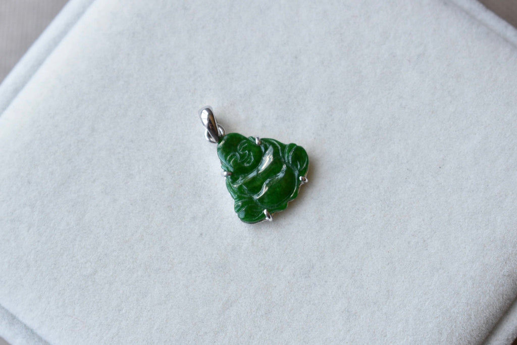Natural Deep Green Dainty Happy Buddha Pendant in 10K White Gold