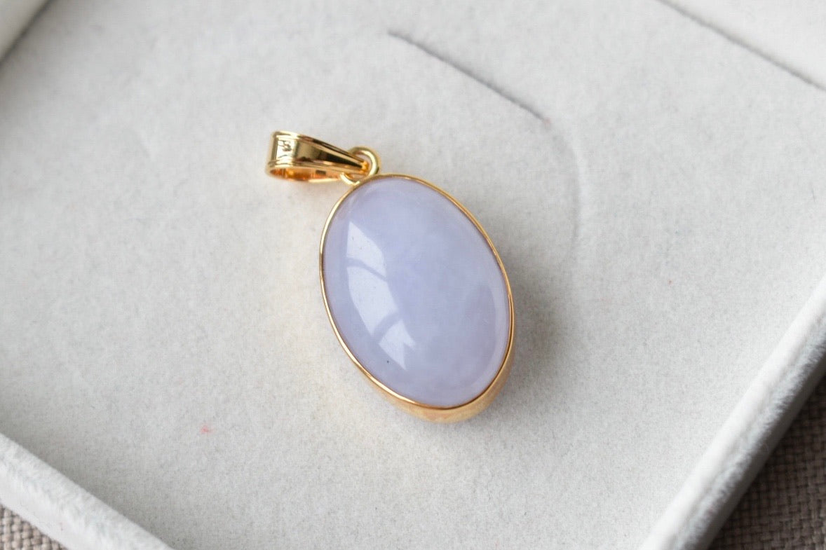 Natural Translucent Lavender Oval Cabochon Jadeite Jade Pendant in 14K Yellow Gold