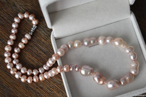 Contemporary Pink Freshwater Baroque and Button Pearl Necklace