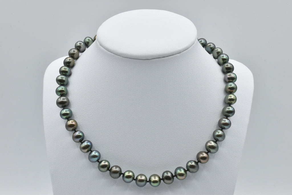 Black Freshwater Oval Pearl Necklace, 9.5-10.5mm