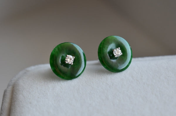 Natural Jadeite Jade Imperial Green Disc Earrings with Diamonds in 14K White Gold