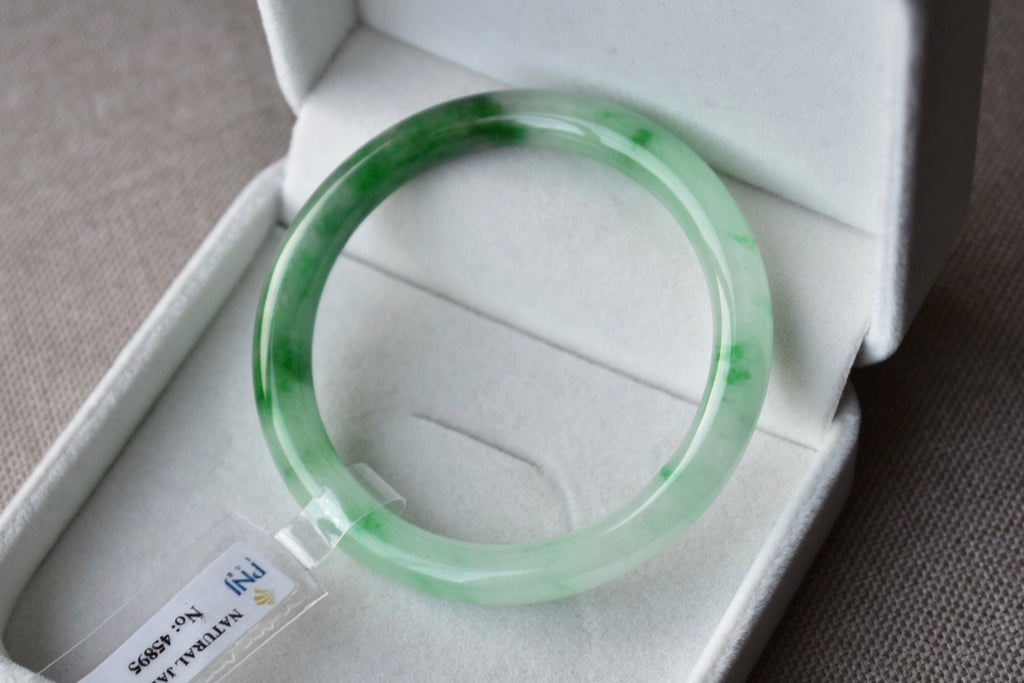 53.20mm Natural Translucent Icy Floral Green Jadeite Jade Round Bangle