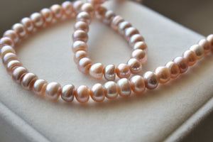Pink, Peach and Lavender Freshwater Button Pearl Necklace, 6.5-7.0mm