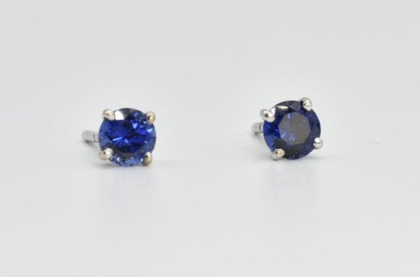 Natural Blue Sapphire Stud Earrings in 14K White Gold