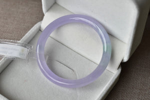 52.80mm Natural Icy Lavender + Green Jadeite Jade Round Bangle