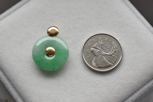 Natural Jadeite Jade Moss In Snow Donut Pendant in 14K Yellow Gold