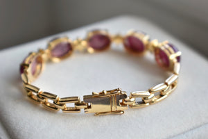 Natural Star Ruby Oval Cabochon And Diamond Cluster Bracelet in 14K Yellow Gold