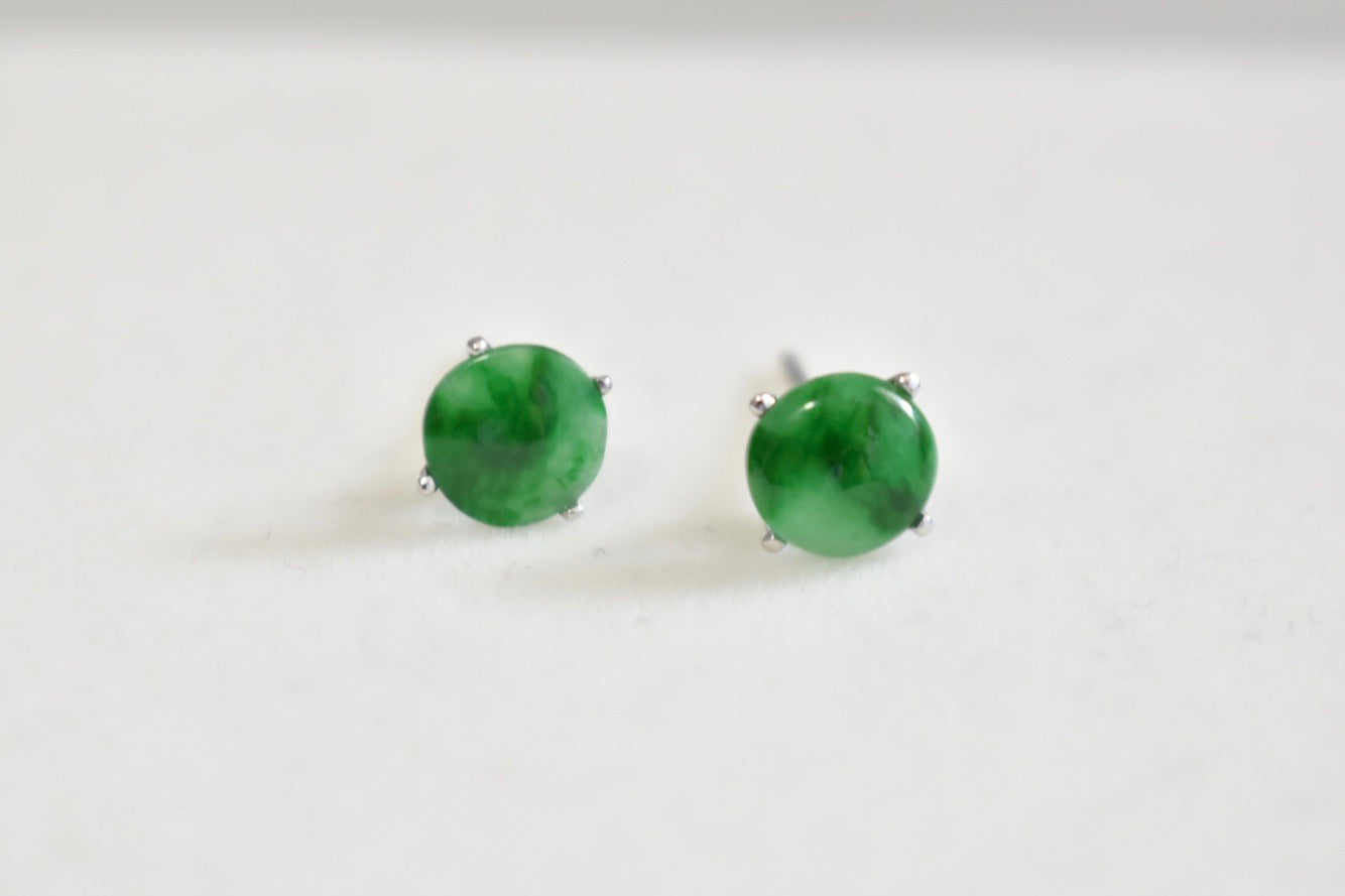 Grade A Jadeite Jade Green Stud Earrings in 14K White Gold