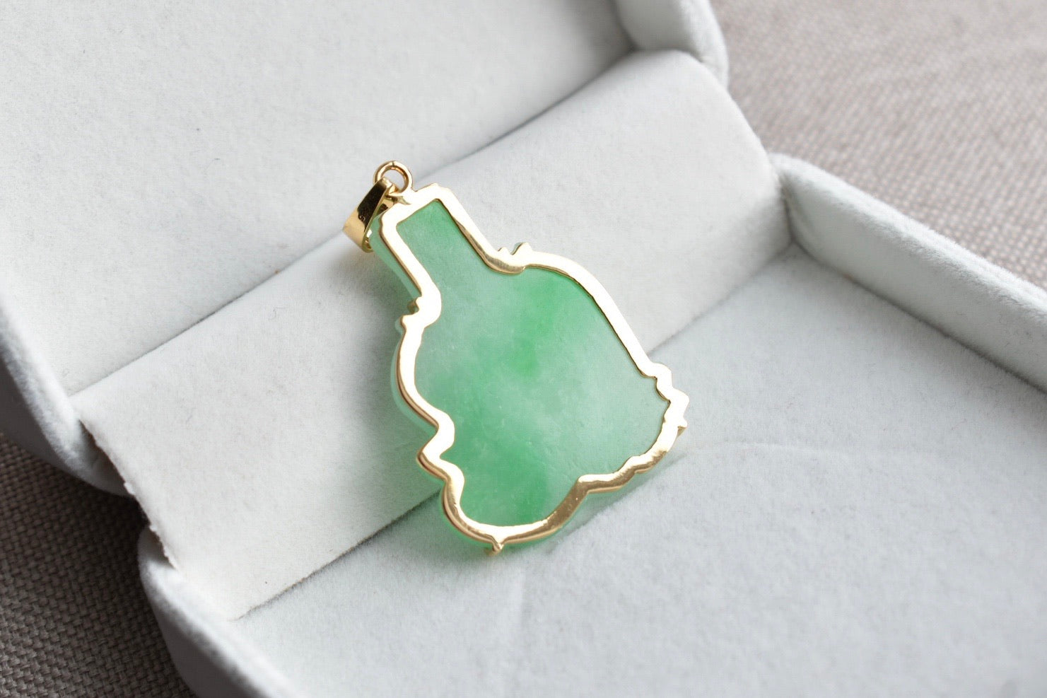 Natural Translucent Moss In Snow Jadeite Jade God Of Wealth Pendant in 14K Yellow Gold