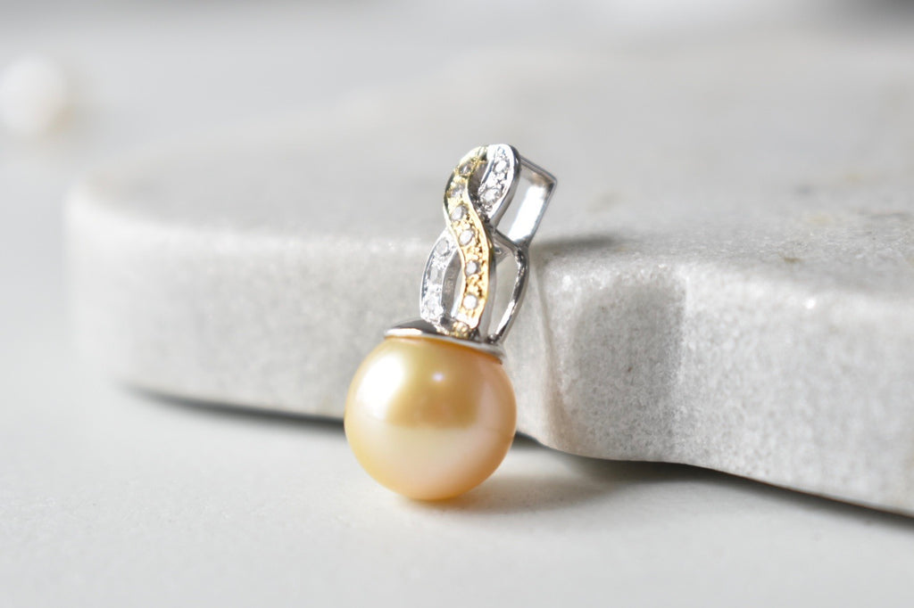 Golden South Sea Pearl and Diamond Breast Cancer Awareness Pendant in 14K Gold