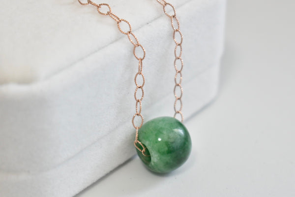 *****SOLD***** Natural Jadeite Jade Green Barrel Pendant