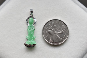 Natural Icy Green Jadeite Jade Lady Buddha Pendant in 10K White Gold
