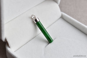 Natural Translucent Imperial Green Jadeite Jade Stick Pendant in 14K White Gold