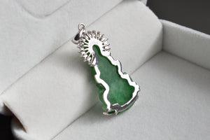 Natural Translucent Imperial Green Jadeite Jade and Moissanite Lady Buddha Pendant in 14K White Gold