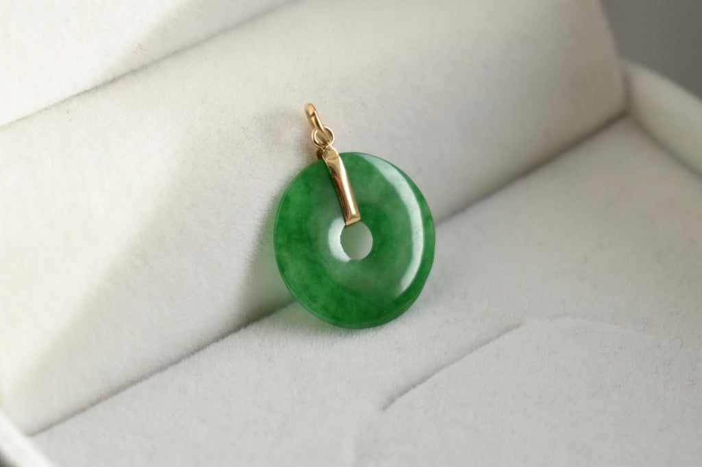 Natural Icy Imperial Green Jadeite Jade Donut Pendant in 18K Yellow Gold