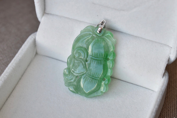 Natural Translucent Green Jadeite Jade Double Sided Ruyi Bean Pendant in 10K White Gold