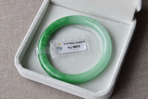 52.46mm Natural Translucent Bicolor Faint Green + Vivid Green Round Bangle