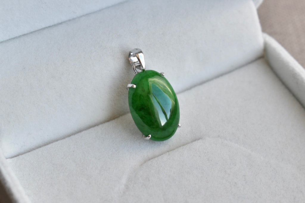 Natural Translucent Imperial Green Oval Cabochon Jadeite Jade Pendant in 14K White Gold
