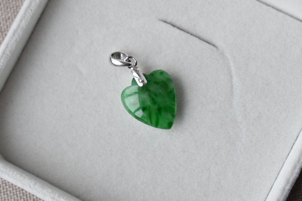 Natural Translucent Green Heart Pendant in 14K White Gold