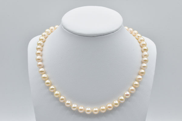 Cream Freshwater pearl necklace (8.0-9.0mm)