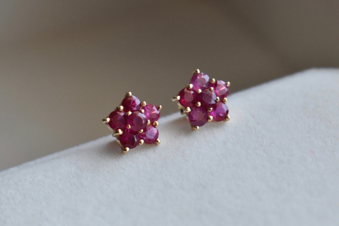 Natural Pink Ruby Flower Cluster Stud Earrings in 18K Yellow Gold