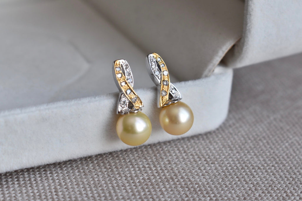 Golden South Sea Pearls and Diamond Breast Cancer Awareness Ribbon Earrings in 14K Gold