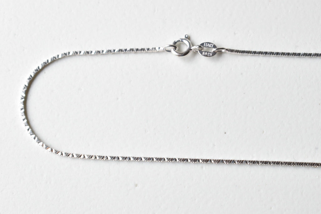 White Gold Plated Sterling Silver Square Snake Chain, 18 inches