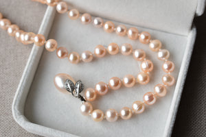 Peach Freshwater Pearl Necklace with Peach Freshwater Pearl and Diamond Fruit Pendant in 10K White Gold