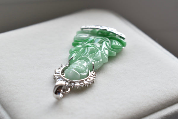 Natural Jadeite Jade Green Lady Buddha with Diamond Halo Pendant in 14K White Gold