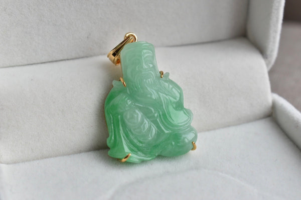 Natural Translucent Green Jadeite Jade God of Wealth Pendant in 14K Yellow Gold