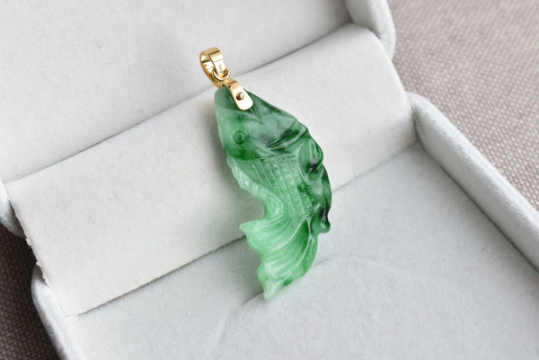 Natural Translucent Green Jadeite Jade Double Sided Fish Pendant in 14K Yellow Gold