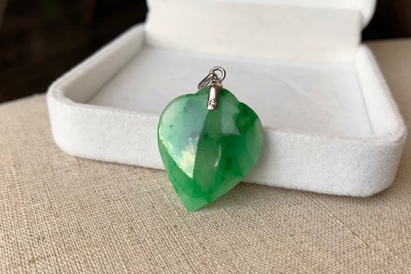Natural Icy Green Jadeite Jade Heart Pendant in 14K White Gold
