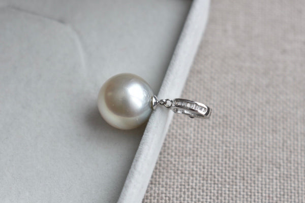 Silver South Sea Pearl and Diamond Bale Pendant in 18K White Gold, 14.5mm