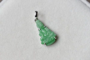 Natural Green Jadeite Jade Lady Buddha Pendant in 10K White Gold
