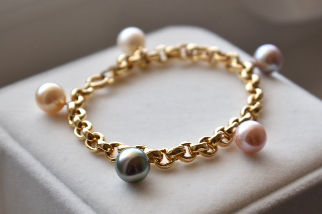 Tahitian, South Sea and Freshwater Pearl Charm Bracelet in 14K Yellow Gold