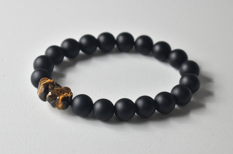 *****SOLD*****Tiger Eye Pixiu/Pi Yao and Matte Black Obsidian Bead Bracelet, 12mm