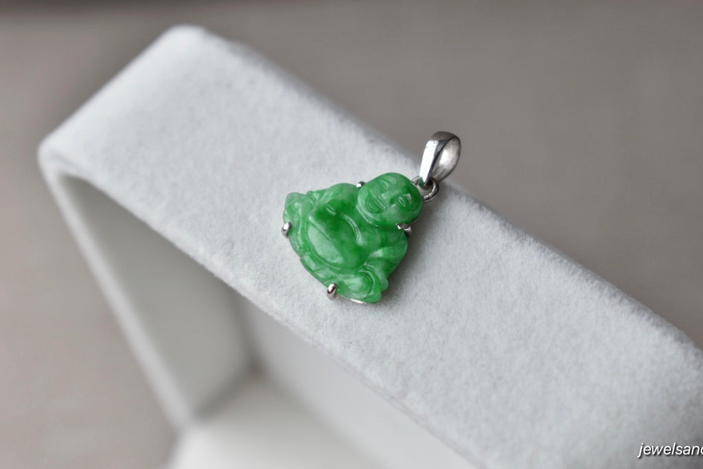 Natural Translucent Vivid Green Jadeite Jade Tiny Happy Buddha Pendant in 10K White Gold